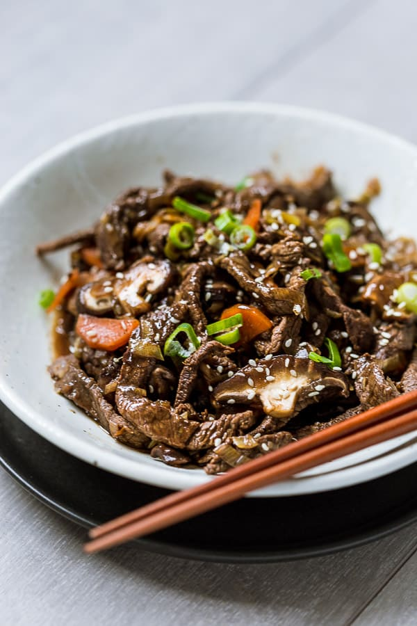 Bulgogi Korean BBQ Beef and Shiitake Mushroom - Thin tender slices of ...