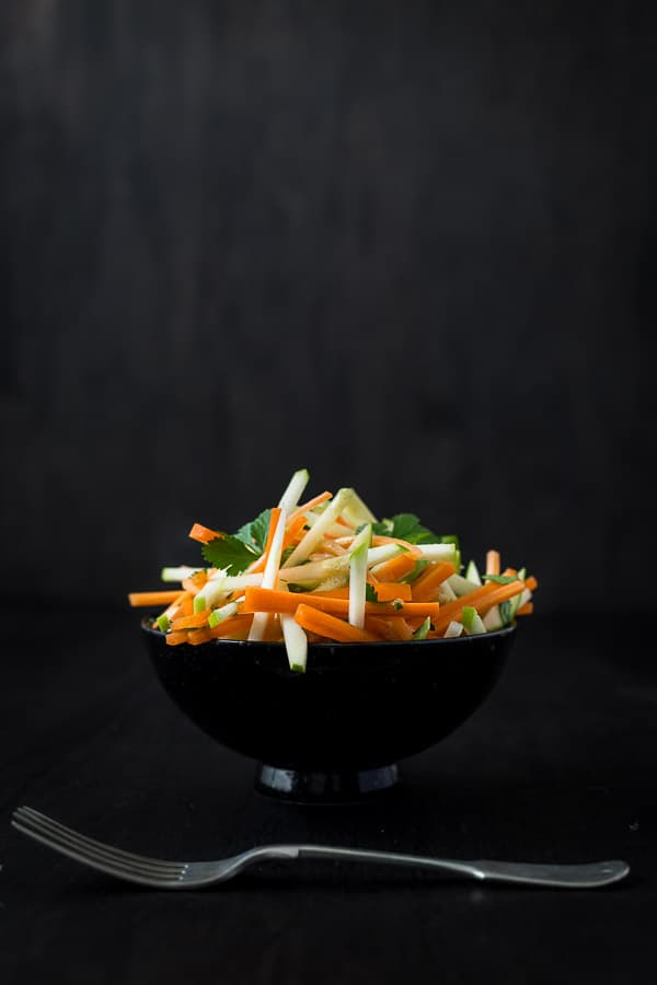 French Apple and Carrot Salad - Sweet and savoury, this crunchy and healthy treat leaves you feeling so GOOD! Plus, who doesn't love dijon mustard? | wandercooks.com