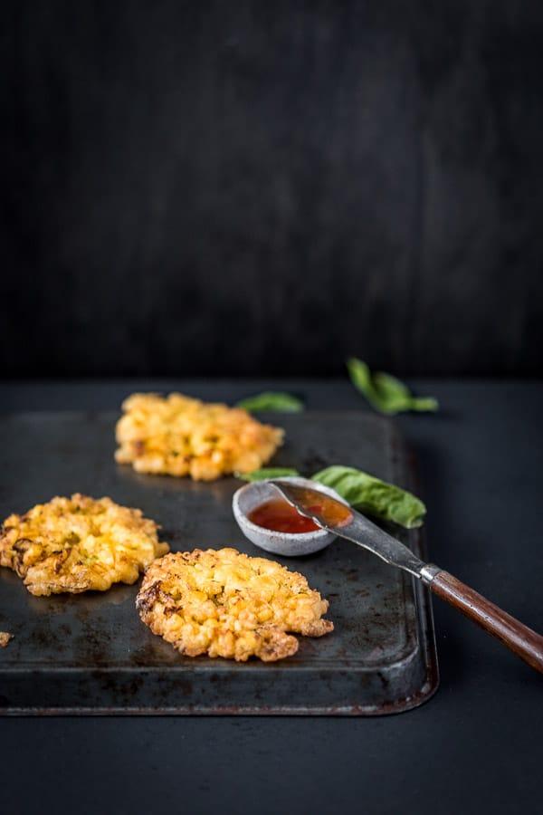 Fried bakwan jagung on a tray