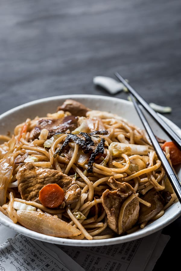 A closeup photo of the finished dish of yakisoba noodles.