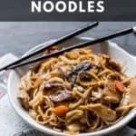 Bowl of Yakisoba noodles with chopsticks.