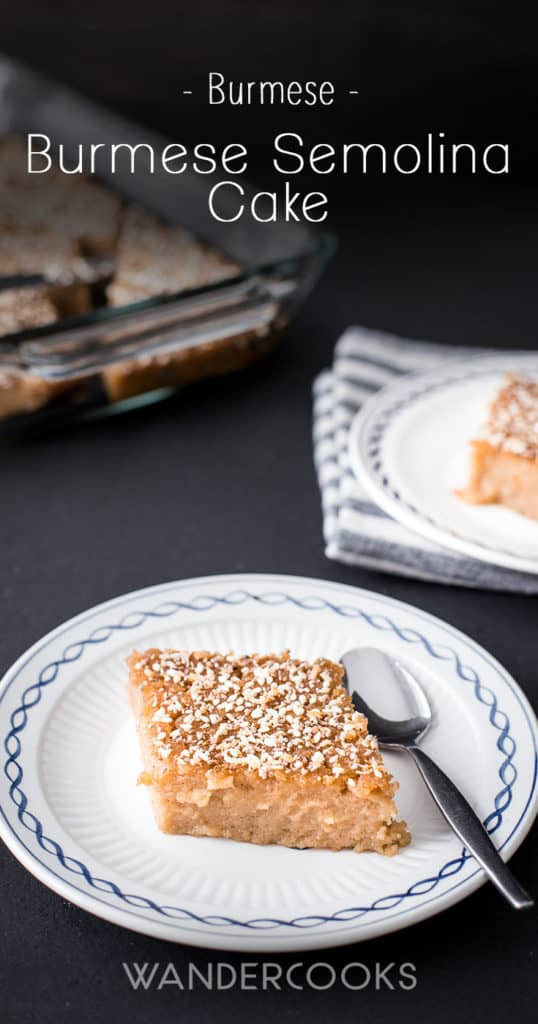 Burmese Semolina Cake - A South-East Asian treat with hints of coconut. Vegetarian | wandercooks.com