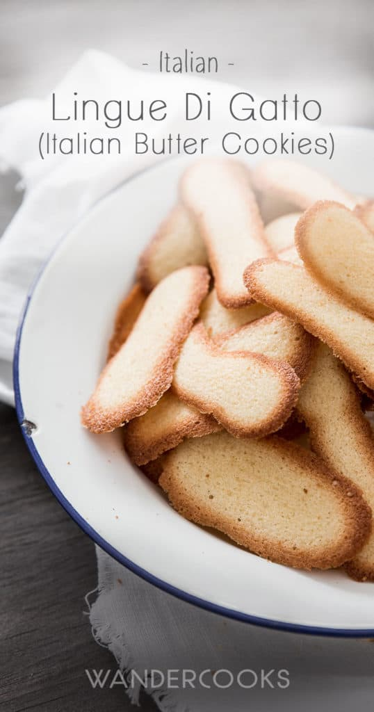 Italian Butter Cookies (Lingue Di Gatto) - Thin and crispy, these moreish biscuits are perfect with a cup of tea or mid-morning snack. | wandercooks