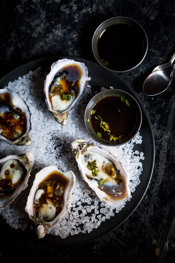 Oysters Three Ways - These are our go to 5 minute party starters - Kilpatrick, Ponzu with Lemon Thyme and Soy with Ginger. Entertaining done. | wandercooks.com
