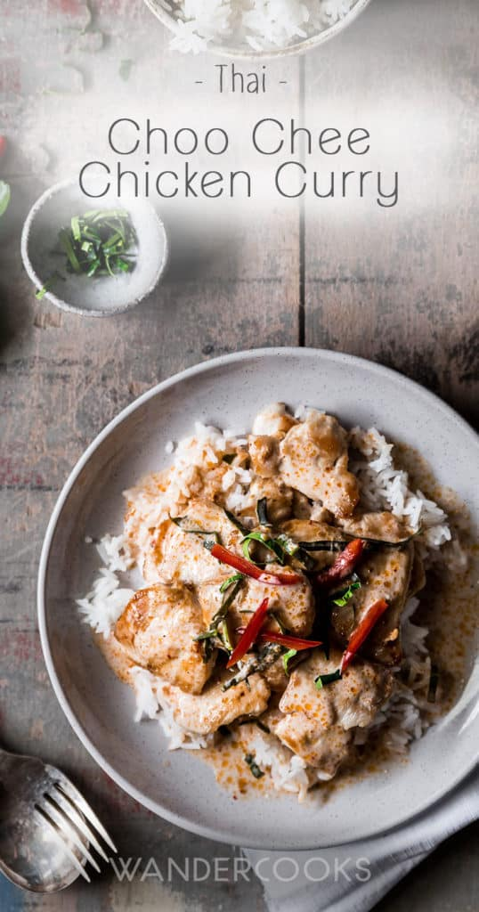 Choo Chee Chicken Curry Recipe (Thai) - A red curry based, creamy coconut sauce with fragrant kaffir lime and crispy chicken. So addictive, you'll want 10 plates. | wandercooks.com