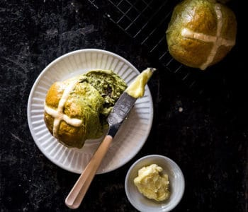 Matcha Hot Cross Buns Recipe - Easter is here, so why not try Japanese style Hot Cross Buns? Fluffy, slightly sweet with a touch of spice and azuki beans. | wandercooks.com