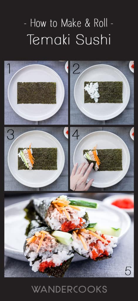 Step-by-step guide to make temaki sushi rolls. Take a piece of nori, add sushi rice in the left corner, top with ingredients and roll up into a cone or roll shape.