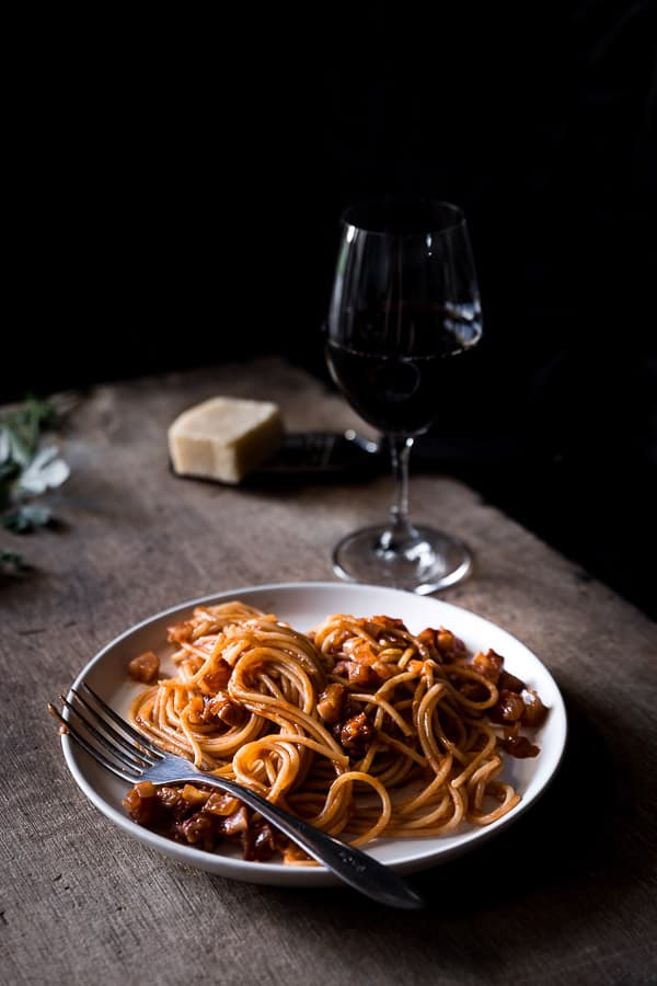 Pasta all Amatriciana Spaghetti Recipe - A quick and simple Italian recipe, with bold flavours of pancetta, passata and onion with a hint of chilli. | wandercooks.com