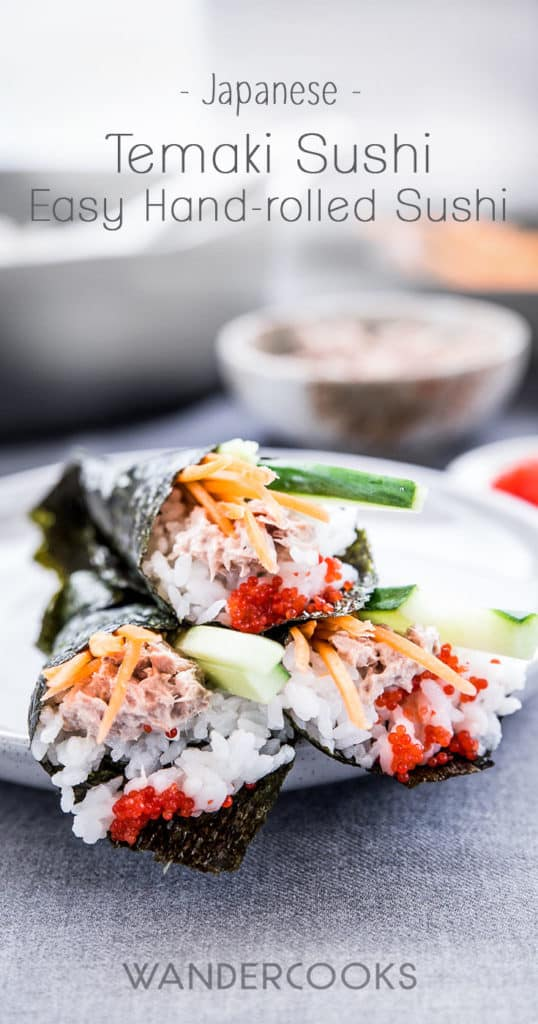 "Temaki sushi is a fun and easy way to make sushi at home. Also known as ""hand-rolled"" sushi, it's made by wrapping nori seaweed around sushi rice and your favourite fillings to form a cone shape. 