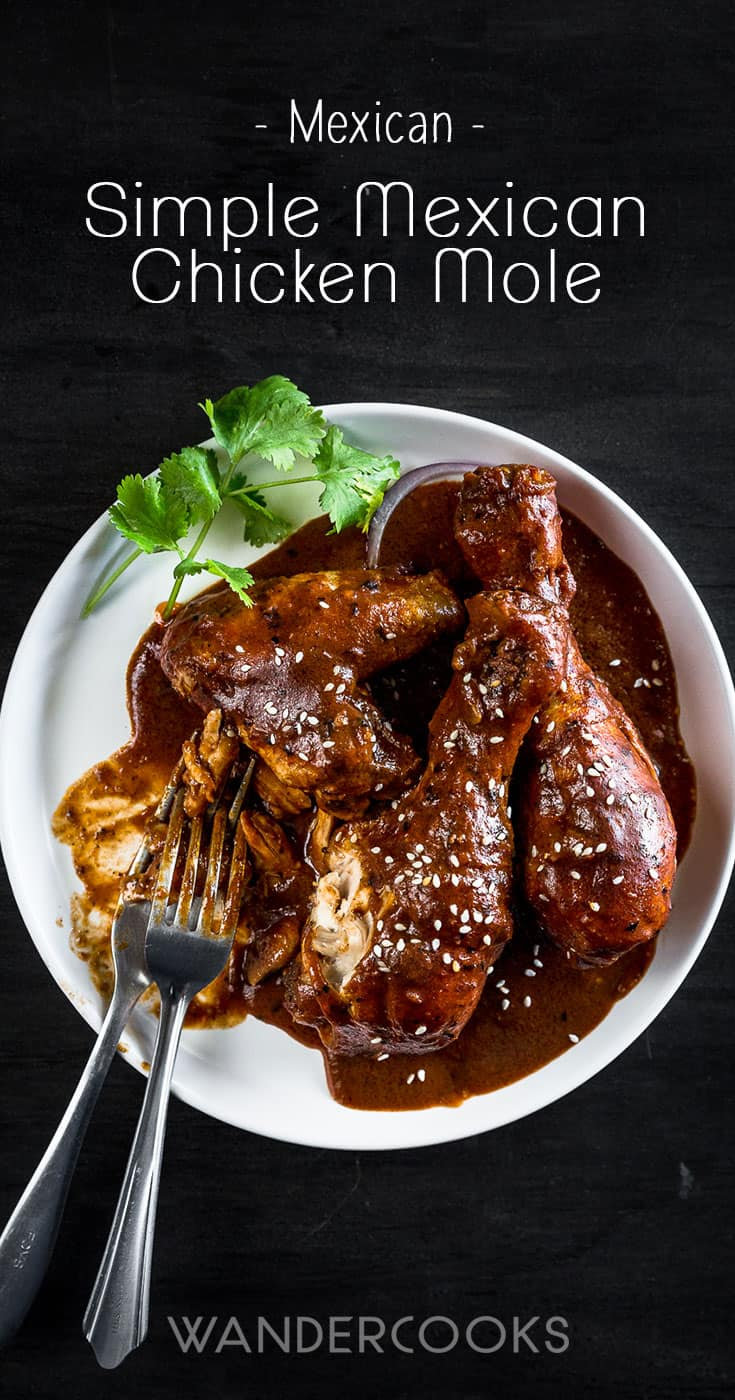 Simple Mexican Chicken Mole Recipe with Dark Chocolate - A rich, aromatic sauce with indulgent dark chocolate and exotic spices, paired with slow-cooked chicken and tortillas. This recipe can be made in advance or frozen for when you need it most! | wandercooks.com #mexicanmole #mexicanchickenmole #mexicanchocolatechicken #mexicanchicken #chickenmole