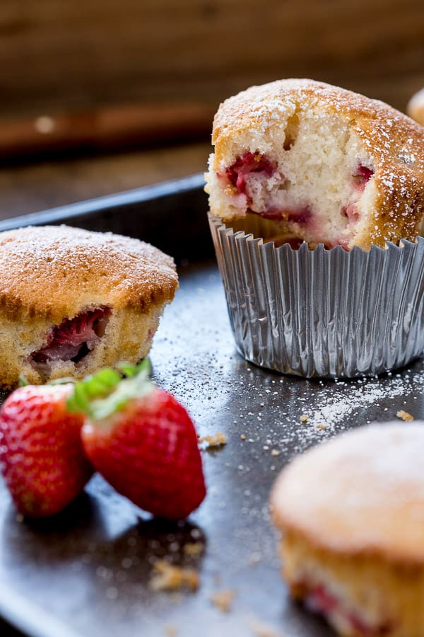 Strawberry Muffins Recipe - These easy homemade muffins are filled with fresh strawberries, super moist on the inside and can be made in minutes with your KitchenAid. | wandercooks.com