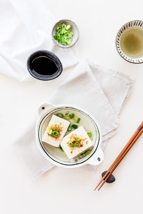 Yudofu Simple Hot Tofu Recipe - With a subtle blend of Pure Harvest Organic Tamari, dashi stock and mirin, this Japanese Hot Tofu (Yudofu) recipe is as nourishing as it is comforting. | wandercooks.com