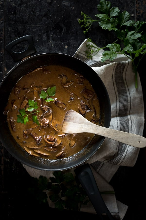 Creamy Beef Stroganoff Recipe - Slow cooked portobello mushrooms are tossed alongside melt-in-your-mouth blade steak chunks in this warming Russian pasta dish. Perfect for dinner with friends!   wandercooks.com
