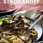 Plate of Stroganoff with spaghetti and fork.