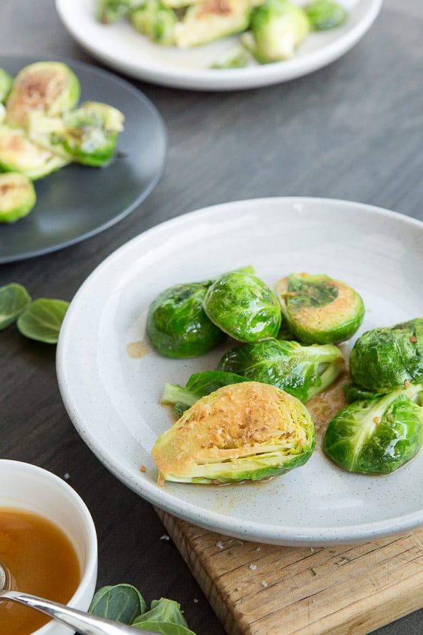 Brussels Sprouts Three Ways Recipe - A great combination of Miso, Balsamic Honey & Chicken Stock flavours set to turn this vegetable into a new favourite! | wandercooks.com