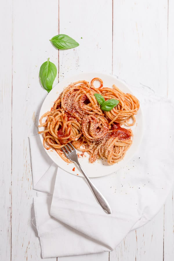 Easy Italian Pasta - Spaghetti Tavernara Recipe - Ready in 10 minutes with just a few ingredients, this spaghetti is uses a simple sauce of passata and pecorino cheese. | wandercooks.com