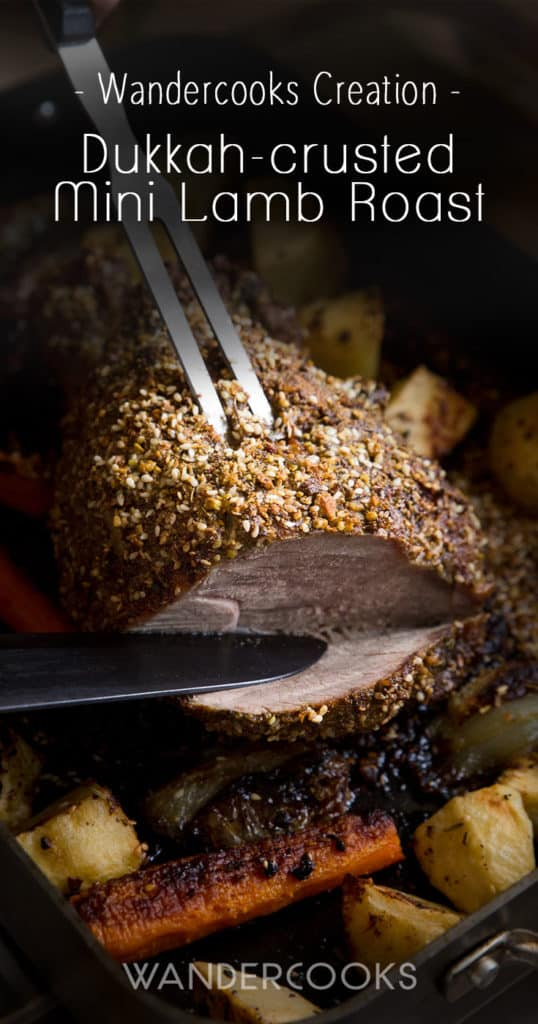 Dukkah-crusted Mini Lamb Roast Recipe - A simple, quick and easy roast that will leave you with tender spiced lamb, perfect for a winter night. | wandercooks.com