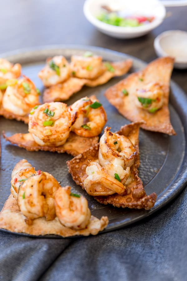 Spicy Prawns on Crispy Wontons Recipe - An entree to impress your friends that's simple to make, packed full of spicy heat and mouthwatering flavour. | wandercooks.com