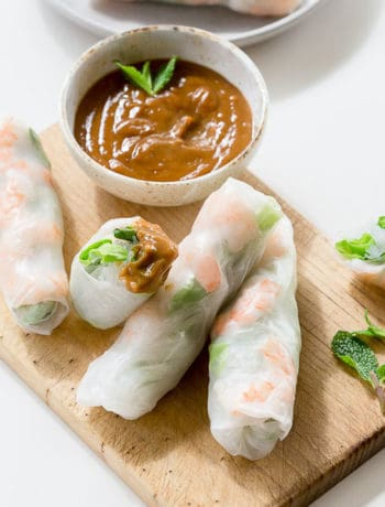 Vietnamese rice paper rolls and dipping sauce.