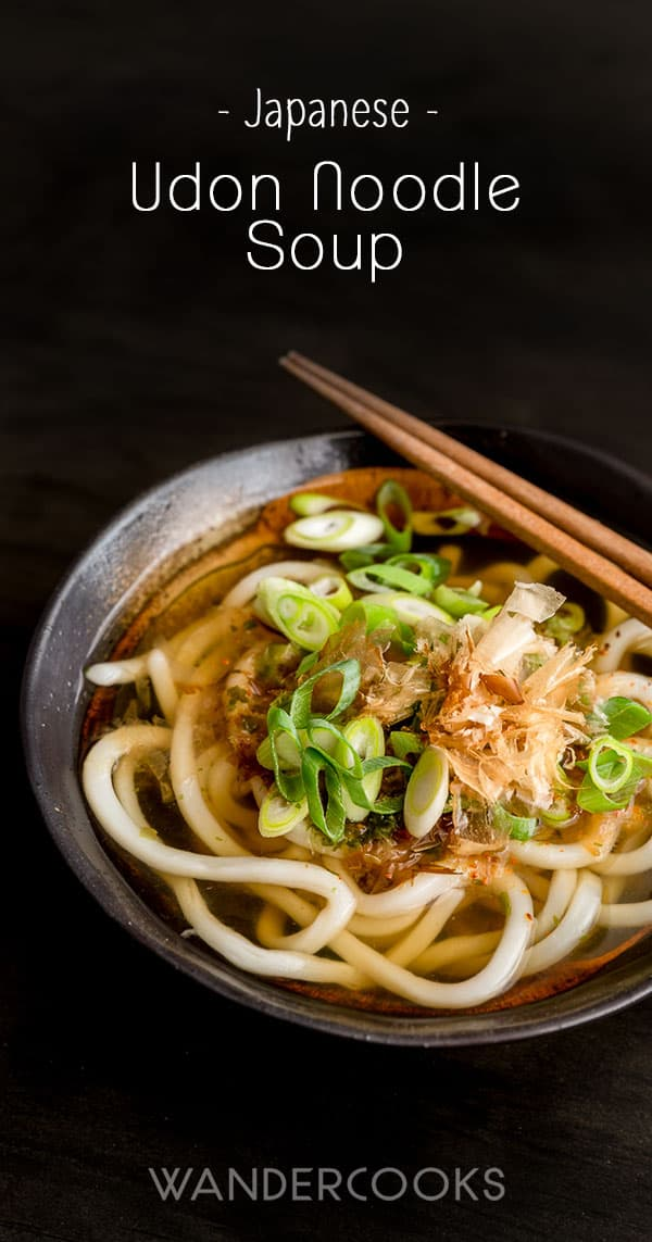 Udon Noodle Soup Recipe - This Japanese udon noodle soup recipe features an easy udon soup base that you can make in minutes. Choose your favourite udon toppings such as spring onion, katsuoboshi (bonito flakes) and shichimo togarashi (Japanese chilli flakes)! This light, tasty Japanese noodles soup is perfect as a quick lunch, dinner or appetiser. | wandercooks.com #japanesefood #udon #udonnoodles #japanesenoodles #udonsoup #udontoppings