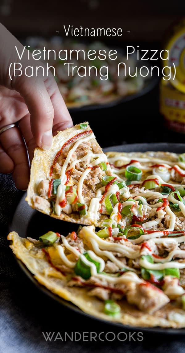 Vietnamese Pizza (Bánh Tráng Nướng) Recipe - Grilled rice paper pizza is a popular street food snack in Vietnam! Easily cooked at home, with toppings such as egg, spring onion, canned meat (we LOVE tuna on ours) and finished with mayonnaise and sriracha. | wandercooks.com #vietnamese #pizza #ricepaper #grilled #wandercooks