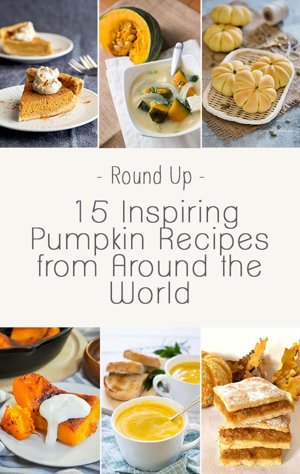 Six different images of recipes using pumpkin as the main ingredient.