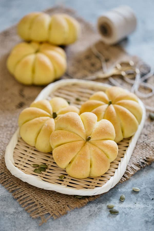 Pumpkin Shaped Bread on a plate.
