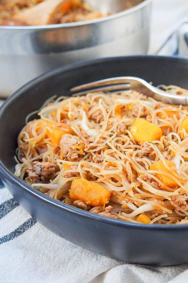 Taiwanese Pumpkin Rice Noodles in a bowl.