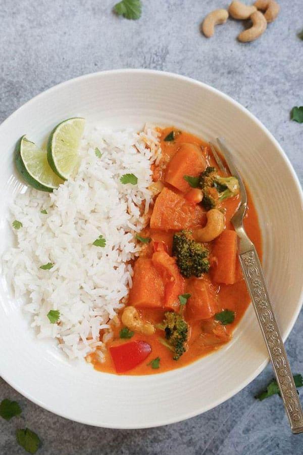 Thai Pumpkin Curry in a bowl.