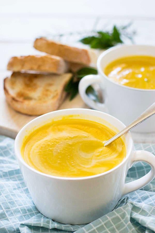Japanese pumpkin soup in a bowl.