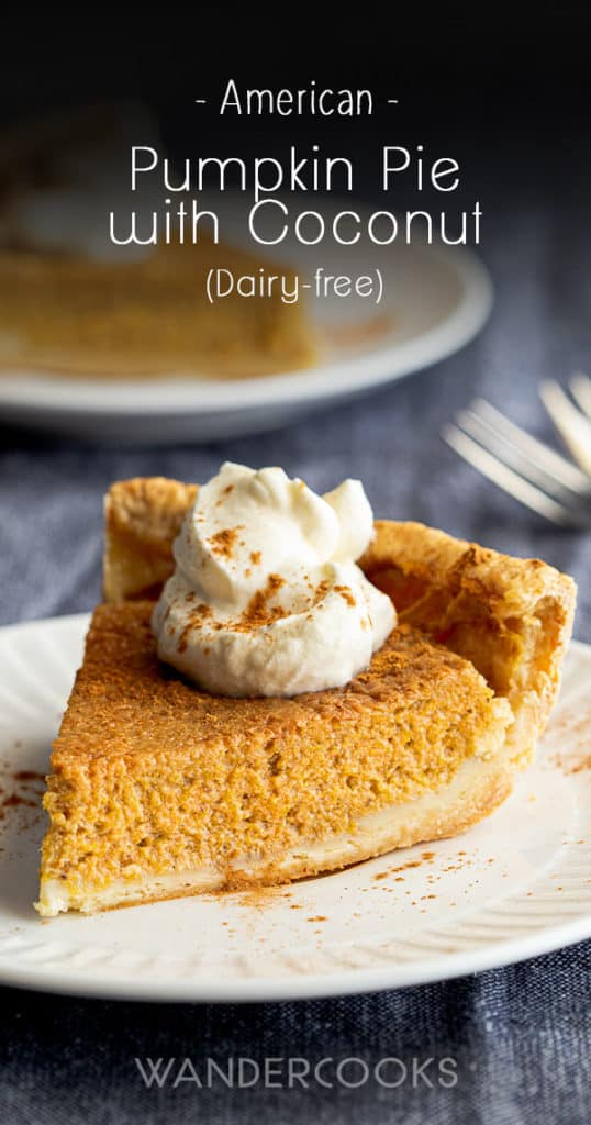 Slice of pumpkin pie with coconut on place, with second slice in background.