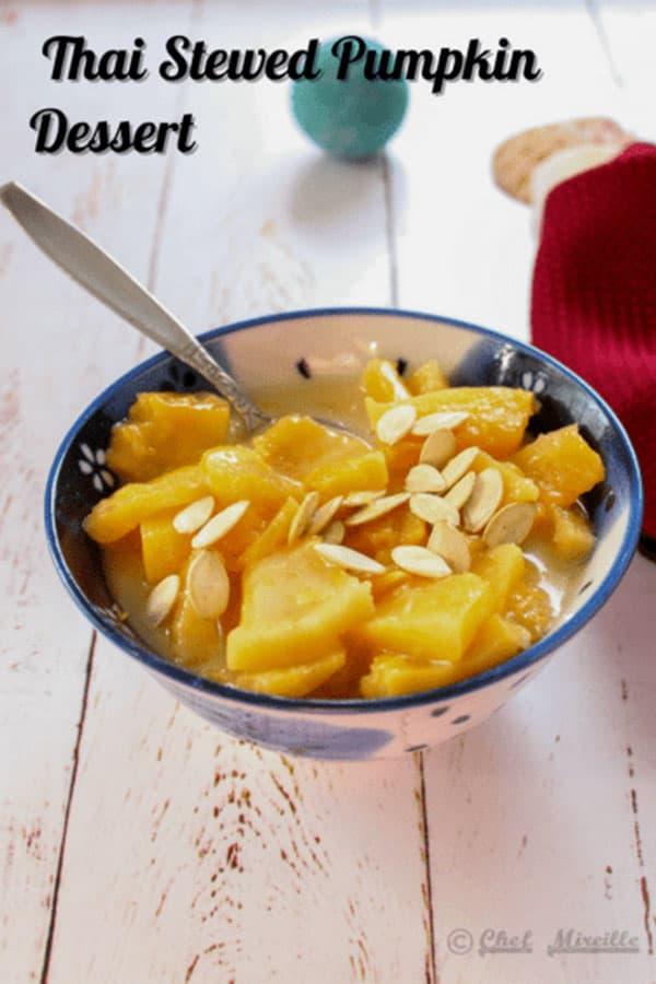 Thai Stewed Pumpkin in a bowl.