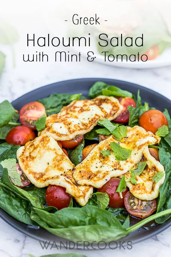 Haloumi Salad - Here\\'s a quick and easy recipe for haloumi salad that you can whip up in no time, whether grilled or pan-fried. Keep this haloumi simple with tomato, baby spinach, mint, and a quick squeeze of lemon juice, or take it even further with some of our delicious haloumi salad ideas.  From side dish to main superstar, this cheesy salad never fails to impress. Who can resist crispy, squeaky, golden goodness? | wandercooks.com #greeksalad #haloumi #cheese #summersalad #saladrecipe
