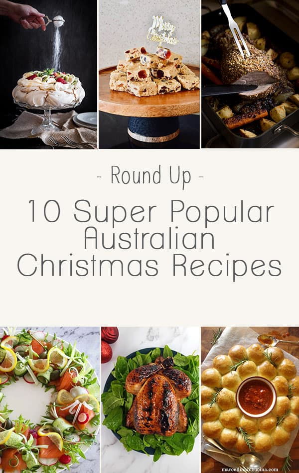 "Round up image of 9 Australian Christmas Recipe dishes. Text reads ""10 Super Popular Australian Christmas Recipes"""