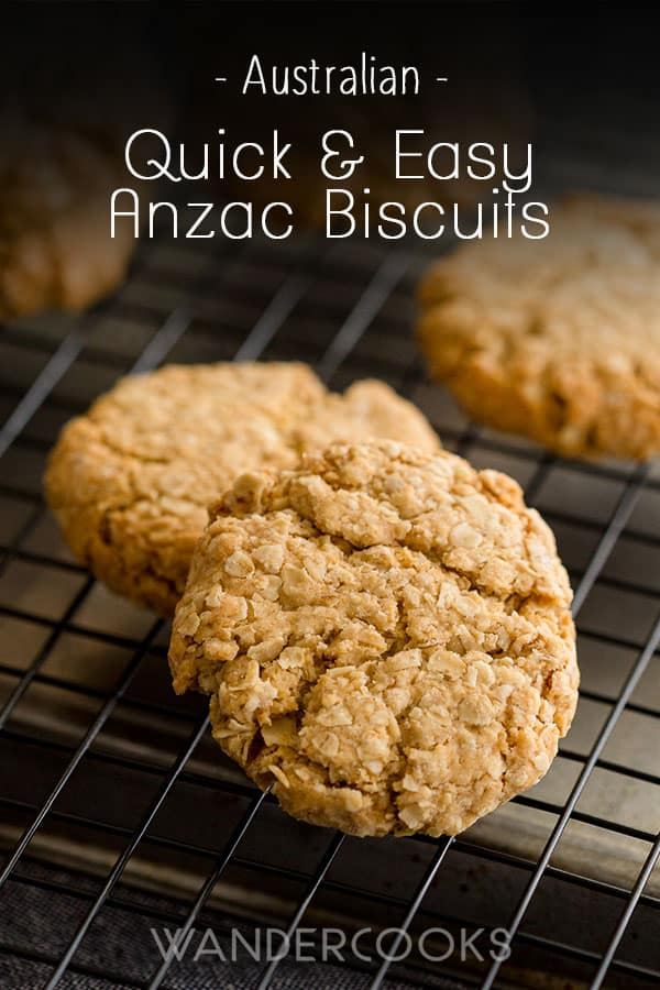 Whip these easy Anzac Biscuits in no time! This popular Australian biscuit is crunchy, sweet and only 6 ingredients - oats, butter, sugar, flour, golden syrup and a dash of water!