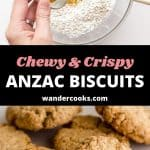 Two images of mixing flour and baked ANZAC biscuits.