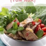 Bowl of fresh yum nua salad with beef strips, chilli, lemongrass and mint.