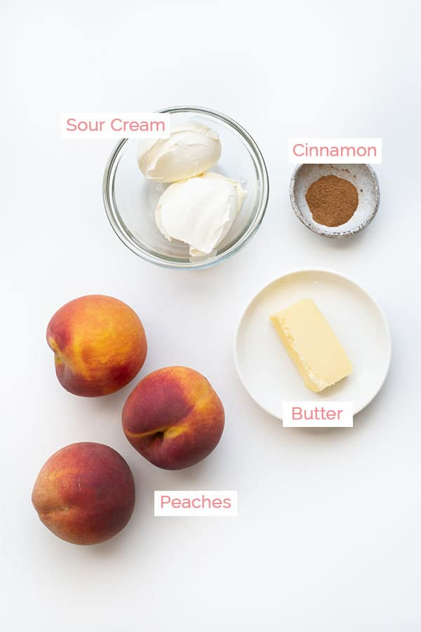 Ingredients layed out for caramelized peaches.