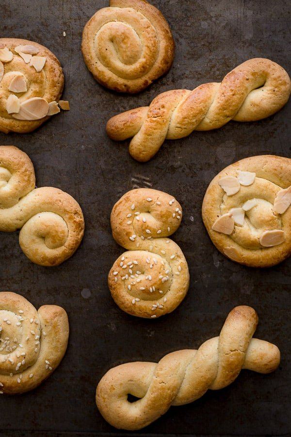 Tray of Greek Easter cookies in various shapes.