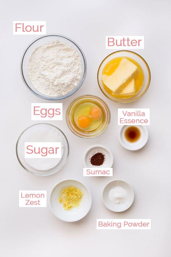 Flat lay of Koulourakia ingredients.