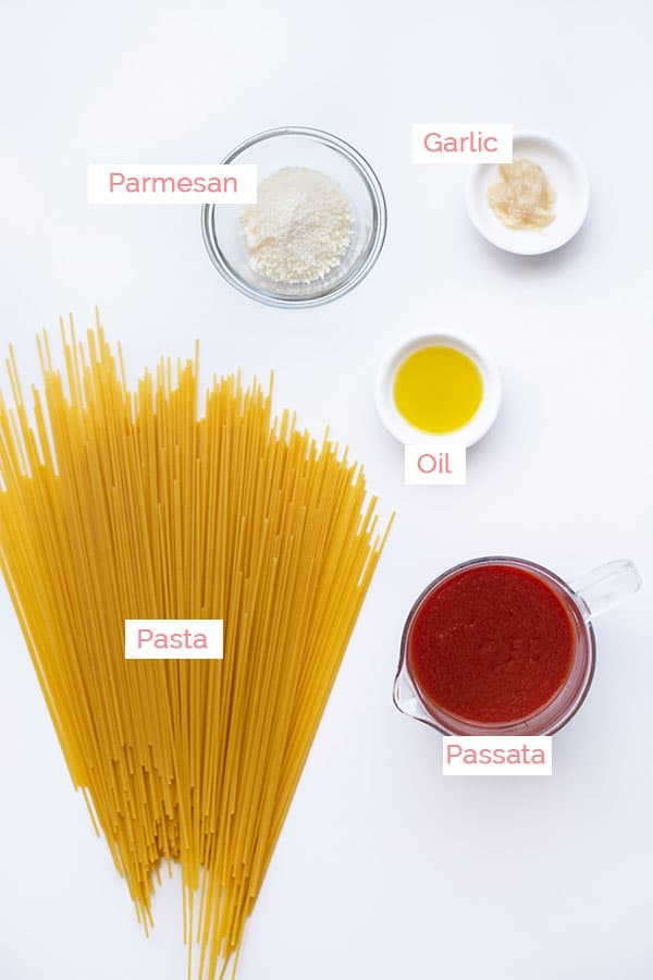 Ingredients to make napoli sauce and pasta.