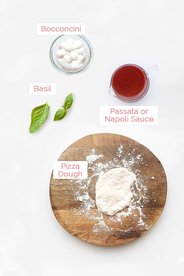 Flat lay of ingredients for pizza fritta.