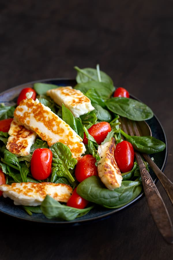 Close up of bowl of haloumi salad.