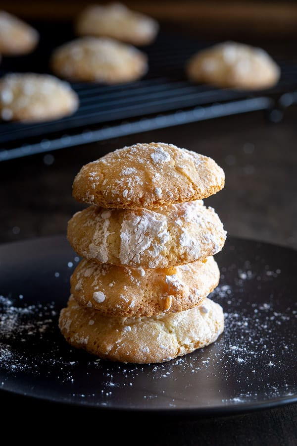 Stack of four Italian Almond Biscuits.