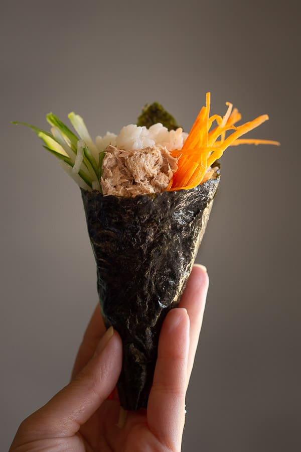 Hand rolled sushi shaped into a cone.