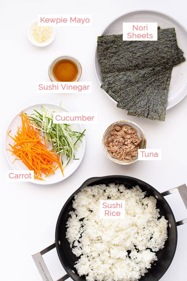 Flat lay of ingredients for Tamaki sushi.
