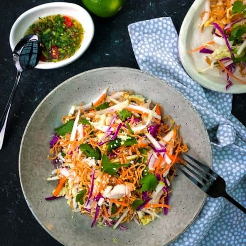 A plate of wombok, cabbage and apple slaw salad next to a small bowl of dressing.