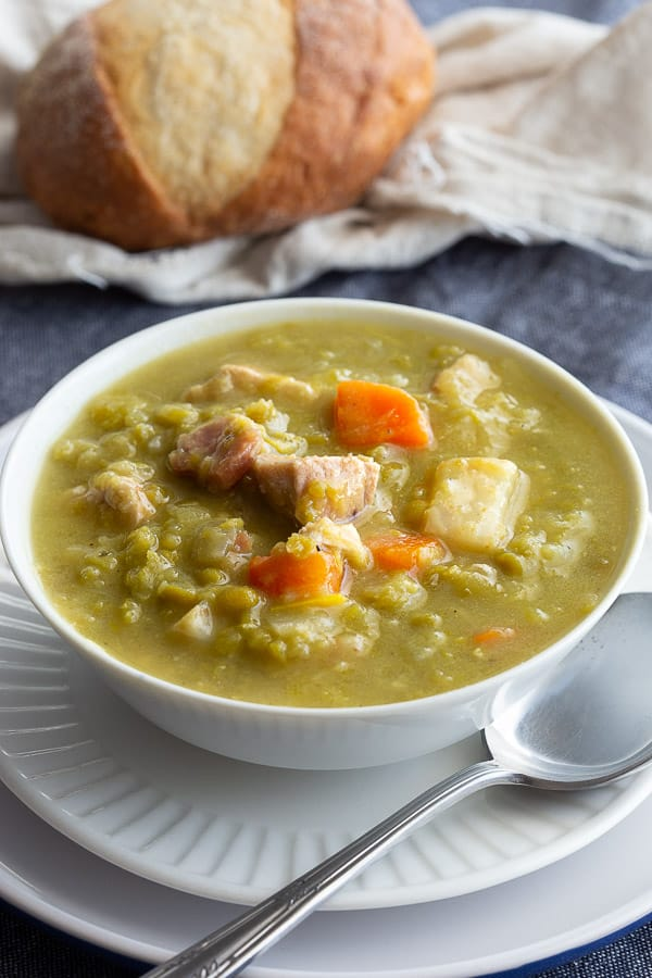 Close up of Snert soup, also known as Dutch Erwtensoep.