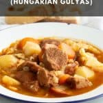 Chunky goulash soup in a bowl.