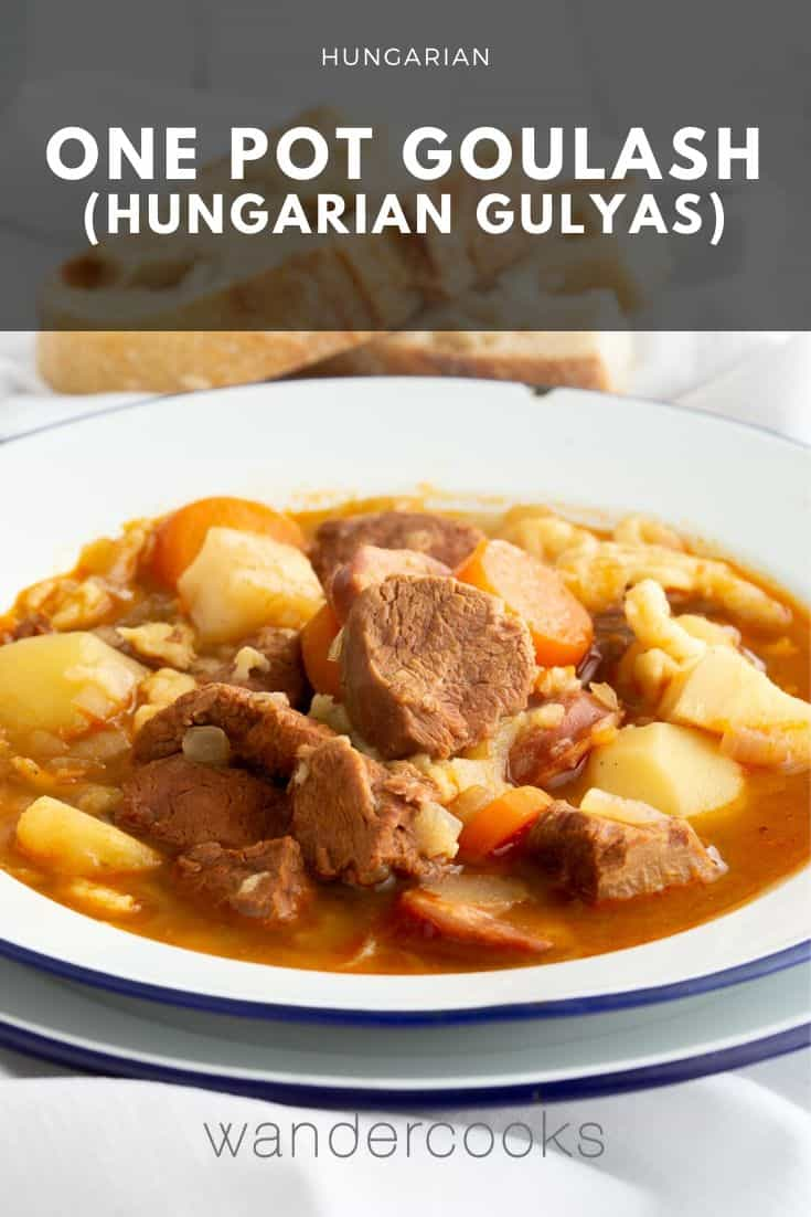 Gulyas - Traditional Hungarian Goulash Soup with Noodles